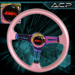Universal Jdm Sport 350mm 6 Hole Pink Trim Neo Chrome 3 Streak Steering Wheel