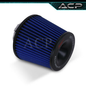 Fits 3 3 Inch Race Performance Blue Black Cold Air Intake Cone Filter Universal
