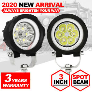 2x 3 Inch Round Led Work Light Spot Pods For Off Road Driving Fog Lights White