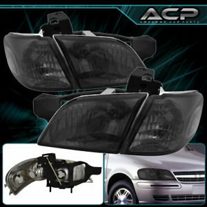 For 1997 2005 Venture Silhouette 4 Pieces Smoked Head Lamps Clear Corners Lights