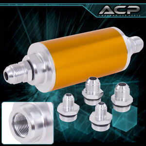 Universal High Pressure Performance Fuel Filter Aluminum Can Tank Fitting Gold
