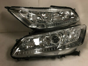 Projector Style Chrome Housing Clear Drl Headlights For 13 15 Honda Accord 4dr