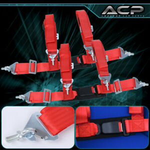 2x 4 Point Red Nylon Racing Harness Safety Seat Belt 2 Buckle Strap Universal