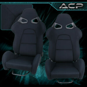 Adjustable Reclinable Black Racing Bucket Seat Pair Universal Cuga Style Comfort