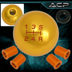 For Toyota M10x1 25 5 Speed Ball Shift Shifter Knob M8 M10 M12 Manual 24k Gold
