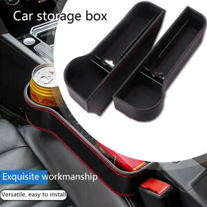 2x Pu Leather Car Seat Gap Storage Box Crevice Organizer Pocket Cup Drink Holder