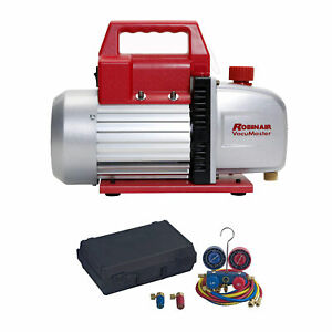Robinair Heavy Duty 1 3 Hp 2 Stage Vacuum Pump With Refrigerant Manifold Set