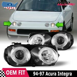 Fits 94 97 Acura Integra Led Halo Rings Projectors Chrome Clear Headlights Pair