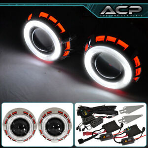 Headlight Retrofit Bi Xenon Dual Ccfl Halo Ring Red White For Nissan Infiniti