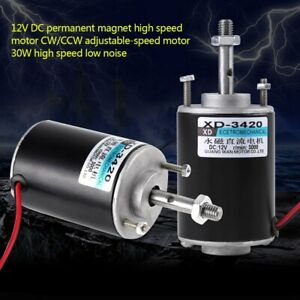 3420 12v 30w Permanent Magnet Dc Motor High Speed Cw ccw For Diy Generator Us