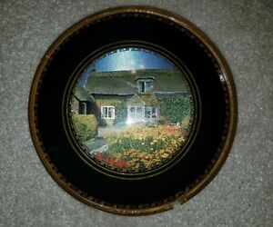 Vintage Convex Dome Glass 3d Metallic Countryside Picture