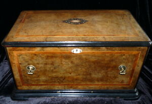 Large Handmade Signed 1878 Tea Box Caddy Or Small Chest Inlayed Mother Of Pearl