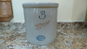 Rare Vintage Redwing 3 Gallon Crock Nice Markings No Cracks