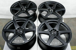 17x7 5 Matte Black Wheels Fits Civic Toyota Matrix Corolla Subaru Impreza Rims