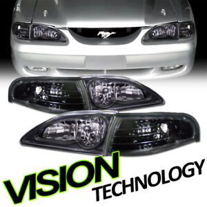 For 94 98 Mustang Blk Clear Headlights Headlamps Signal Parking Corner Lamps K2
