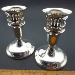 Vintage International Silver Co Candlesticks Candle Holders Pair Usa Made