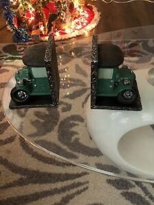 Vtg Pair Of 2 Hard To Find Cute Old Car Very Detailed Ceramic Bookend