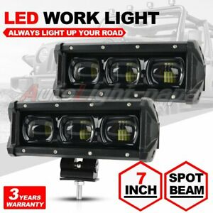 2x 7inch Slim Single Row 6000k 6d Cree Led Work Light Bar Spot Driving Fog Lamp