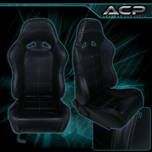 Universal Pvc Leather Bucket Racing Seats Pair Black Stitch Carbon Fiber Look