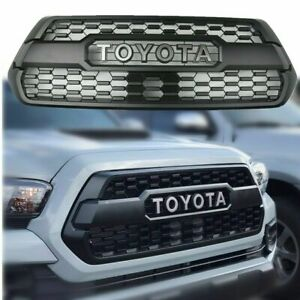 Front Grille Bumper Hood Matte Black Grill For 2016 2019 Toyota Tacoma Trd Pro