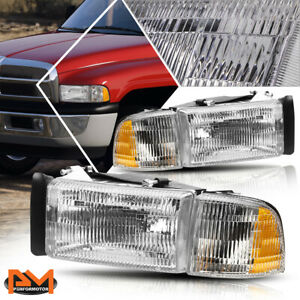 For 94 02 Dodge Ram 1500 3500 Direct Replace Headlight Lamp Amber Corner Chrome