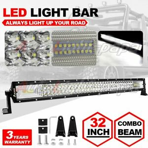 32 30inch Led Light Bar Combo Cree Pods Offroad For Jeep Suv 4wd Atv Fog Us