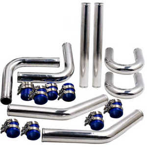 2 5 Aluminum Turbo Intercooler Piping Kit Blue Elbow Hose Bolt Clamps