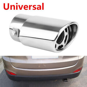 Stainless Steel Chrome Car Tail Rear Round Exhaust Muffler Pipe Tip Universal Pl