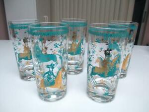 5 Turquoise Gold Mid Century Horse Design Glasses Or Tumblers