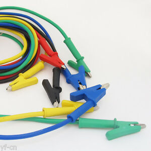 4sets Silicone High Voltage Alligator Clip To Alligator Clip Test Leads 5colors