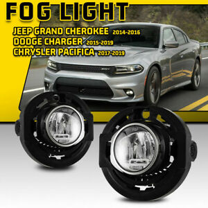 For 15 19 Dodge Charger 14 16 Jeep Grand Cherokee Led Fog Lights Clear Lamp Pair