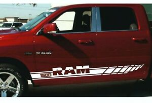 2pcs Side Stripes Racing Graphics Vinyl Decal Sticker Logo Fit To Dodge Ram 1500