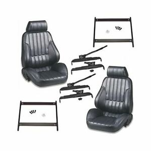Summit Combo Scat Rally 1000 Seats Black Vinyl Brackets Sliders Ford Mustang