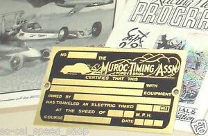 Muroc Timing Tag Hot Rat Rod 1932 Ford Dry Lakes Racing Vtg Style Plaque Dash