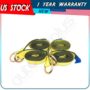 4x 12 Lasso Straps Wrecker Truck Car Hauler Tow Dolly Tire Wheel Tie Down Strap