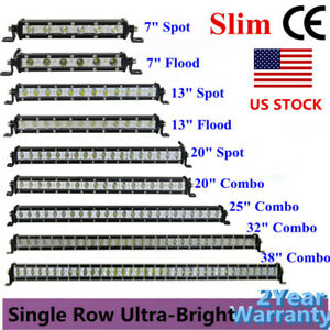 7 13 20 25 32 38 Inch Single Row Slim Led Light Bar Spot Flood Combo Offroad Suv