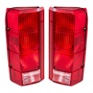 Pair Tail Lights Fit 1980 1986 F150 F250 Styleside Pickup Bronco Taillamps Set