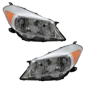 Pair Set Headlights Combination Lamps For 2012 2013 2014 Toyota Yaris Hatchback