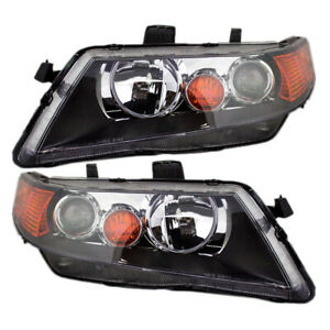 New Pair Set Hid Headlight Headlamp Black Housing Assembly For 04 05 Acura Tsx
