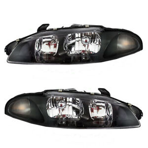 Halogen Headlights Pair Fits 1997 1999 Mitsubishi Eclipse Headlamps Housing Set