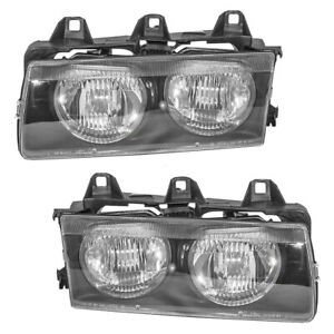 Pair Set Headlights Headlamps Lens Housing Assembly For 92 99 Bmw 3 Series E36
