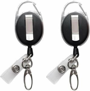 Retractable Badge Reel With Claw Clasp And Clip For Id Card Holders 2pack