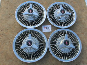 1966 Oldsmobile Cutlass F85 Wire Spinner 14 Wheel Covers Hubcaps Set Of 4