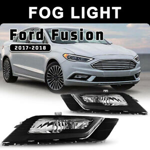 For 17 18 Ford Fusion Fog Light Bumper Driving Lamp Clear Pair Wiring Kit Switch