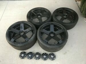 20 Kmc Rockstar Rims Wheels Set Of 4 With New Tires Staggered