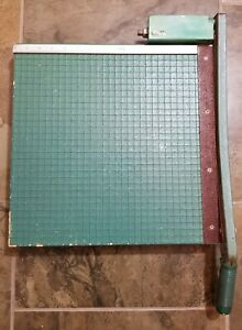 Vintage Premier Guillotine Paper Cutter Trimmer 16x16 Green Wooden
