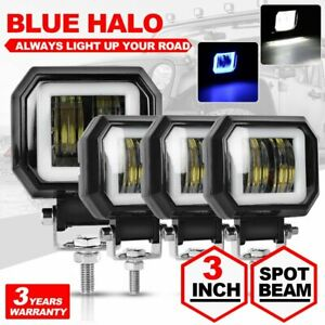 4x 80w 3inch Spot Square Led Work Light Offroad Fog Driving Drl Suv Atv 4wd Car