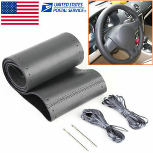 Diy Car Auto Black Genuine Leather Steering Wheel Cover Wrap Sew On 38cm Kit