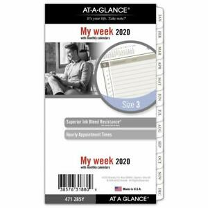 At a glance 2020 Weekly monthly Planner Refill Day Runner portable Size 3