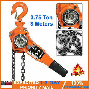 0 75 Ton 3m Come Along Ratcheting Lever Block Chain Hoist With Pulley Heavy Duty